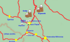 Sopocani Monastery- tourist map