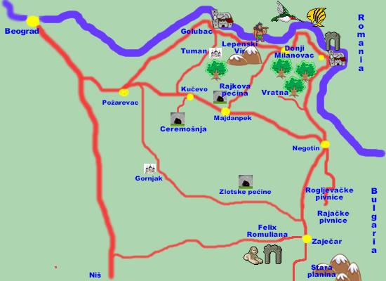 karta srbije negotin Istočna Srbija   turistička karta karta srbije negotin